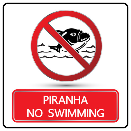 piranha: no swimming piranha sign and symbol vector illustration