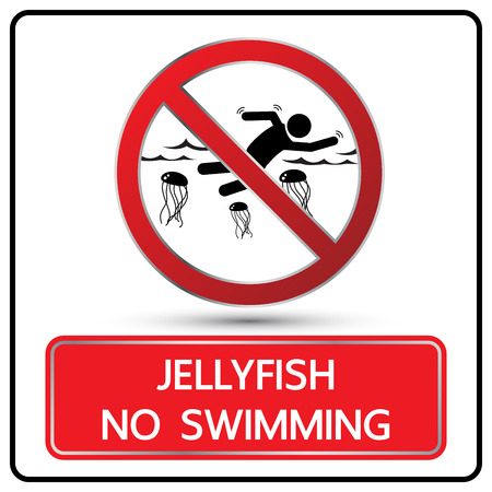 alerting: no swimming lellyfish sign and symbol vector illustration