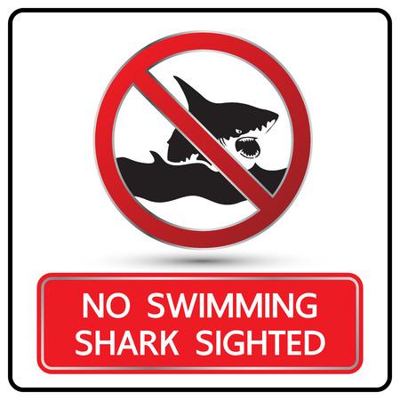 sighted: no swimming shark sighted sign and symbol vector illustration Illustration