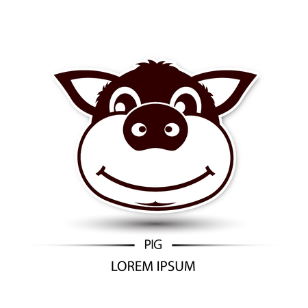 Pig face beatific smile logo and white background vector illustration
