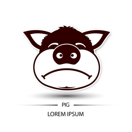 frown: pig face frown logo and white background vector illustration