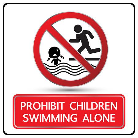 no swimming: Prohibit children swimming alone sign vector illustration Illustration
