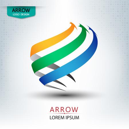 triple arrow logo design round shape vector illustration Illustration