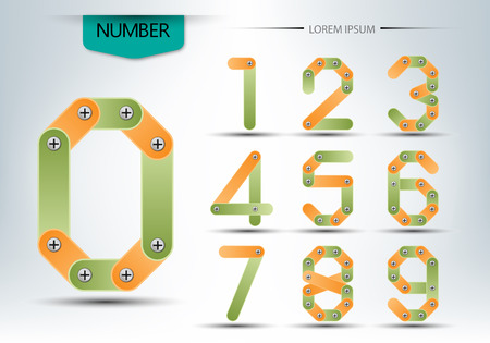 abstract number set, concept of logo vector design illustration