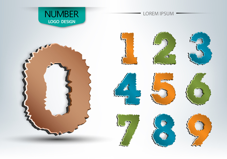 abstract number set of logo vector design illustration