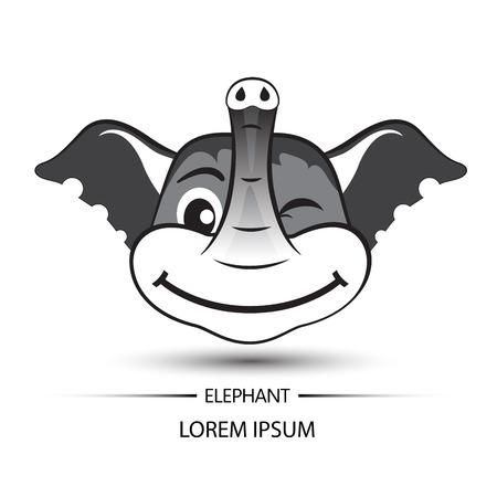 Elephant face beatific smile logo and white background vector illustration Illustration