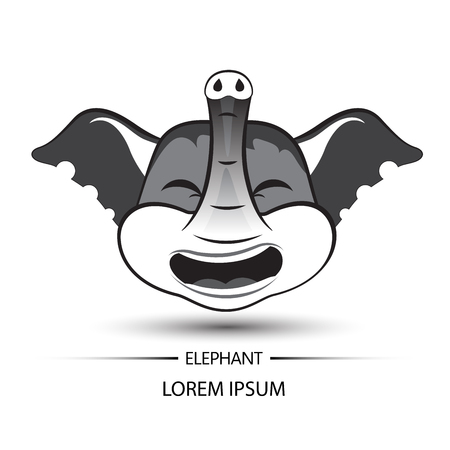 Elephant face laugh logo and white background vector illustration