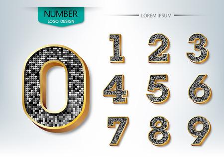 5.0: Golden and diamond metallic shiny numbers vector illustration