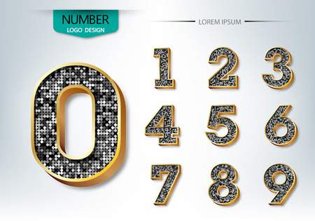 Golden and diamond metallic shiny numbers vector illustration