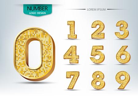 Oro metallico numeri lucidi illustrazione vettoriale
