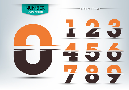 Number font template, Set of numbers logo or icon, Vector illustration