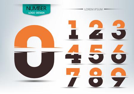 Plantilla de la fuente número, Conjunto de números logotipo o icono, ilustración vectorial Foto de archivo - 73111979