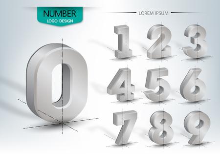 Realistische dreidimensionale, Satz Nummer, Vektor-Illustration Vektorgrafik