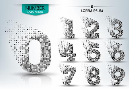 Set of logo number shape spread vector design illustration