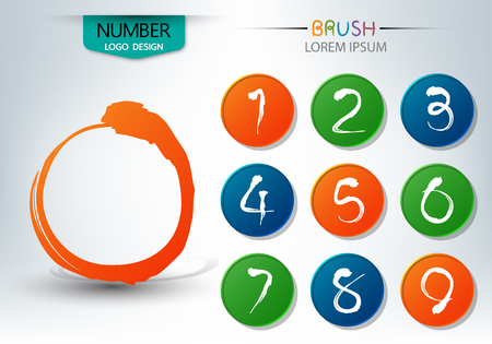 Set of numbers written with a brush, abstract vector illustration