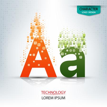 The letter A, character digital technology logo design vector illustration Illustration
