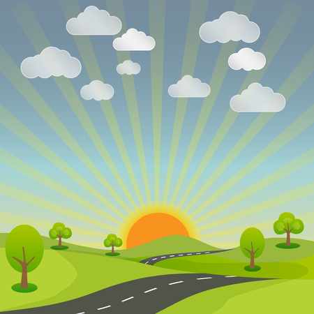 rural road: summer rural landscape road, sun and sky with nature bright background vector illustration Illustration