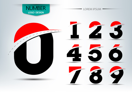 Set of number logo or icon template, Vector illustration