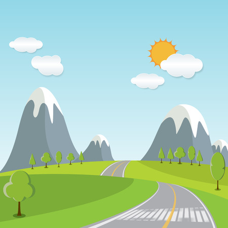 Spring or Summer Cartoon Landscape, with road trail leading towards horizon, illustration vector background