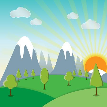 Sunshine spring landscape background with a grass vector illustration
