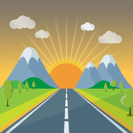 rolling landscape: Spring or Summer Cartoon Landscape, with road trail leading towards horizon, after sunset in the evening illustration vector background Illustration