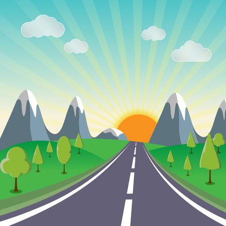 Sunshine spring landscape background with a road vector illustration