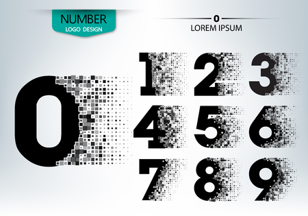 Set of numbers technology with explode spread character on the gray background vector Çizim