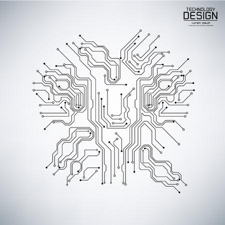 黒、灰色の背景の図の回路基板と抽象的な技術ベクトル