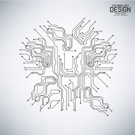 Vecteur de technologie abstraite avec une carte de circuit imprimé noir, sur fond gris illustration Banque d'images - 83010811