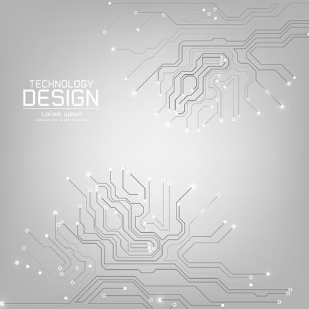 灰色の背景の図の回路基板テクスチャと抽象的な技術ベクトル