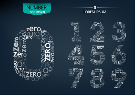 Set of numbers technology on the dark background vector illustration