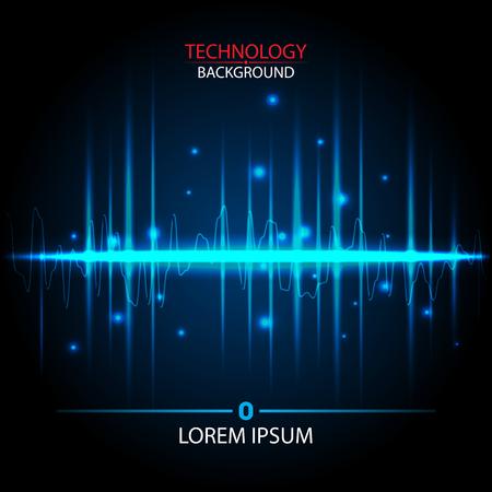 vector technology design sound wave blue color on the dark background
