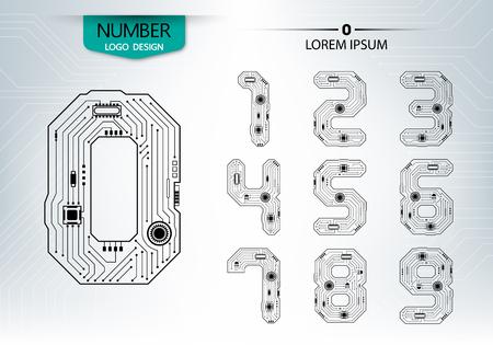 灰色の背景のベクトル図の回路番号技術のセット  イラスト・ベクター素材