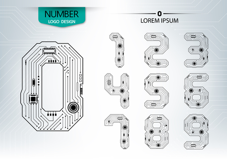 Set of numbers technology with a circuit on the gray background vector illustration Çizim