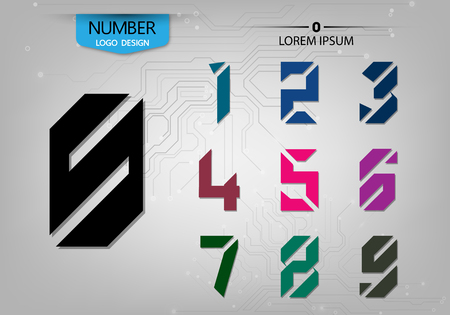 Set of abstract numbers technology is a colorful variety on the gray background vector illustration