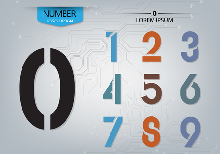 Set of numbers technology is a colorful variety on the abstract background vector illustration