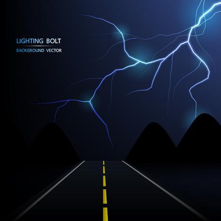 道路、抽象的な背景の夜の稲妻  イラスト・ベクター素材