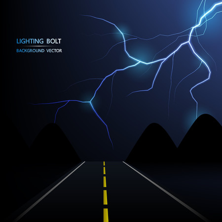 lightning bolt at night on the road, abstract background vector