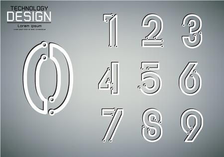 数字アイコン、技術ランプコンセプト、ベクトルイラストの数字セット  イラスト・ベクター素材
