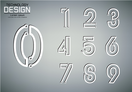 Number set of numbers icon, technology lamp concept, vector illustration Çizim