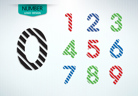 Set of abstract number logo in a diagonal stripes vector design illustration Çizim