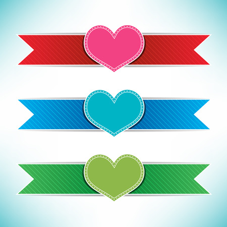 Heart with ribbons colorful for gifts and souvenirs vector illustration