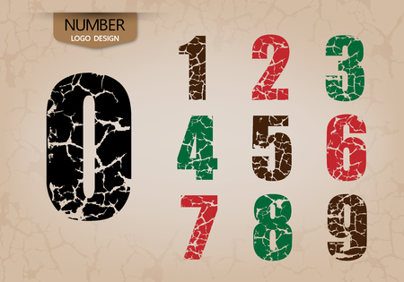 abstract number set of logo style cracking vector illustration