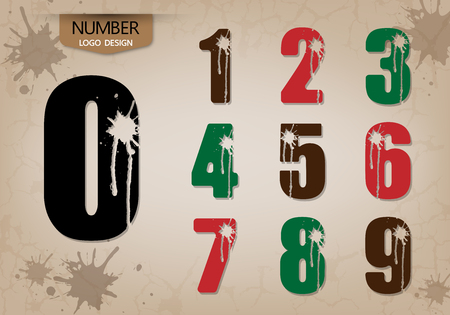 Abstract number set of style, with cracking and runoff fluid, vector illustration. Çizim