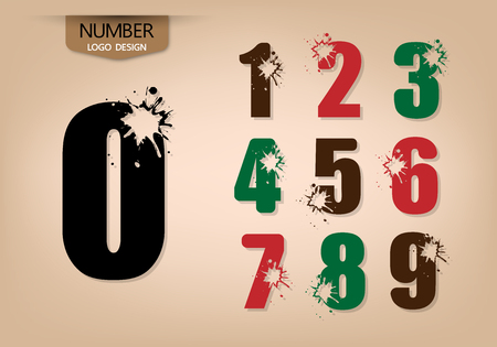 abstract number set of logo style, with explode, vector illustration