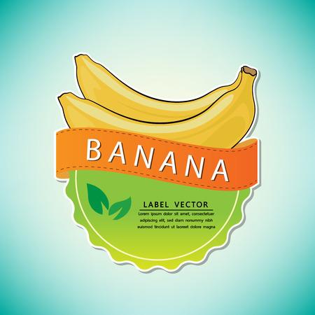 バナナフルーツラベル、タイ原産のフルーツ、ベクトルイラスト