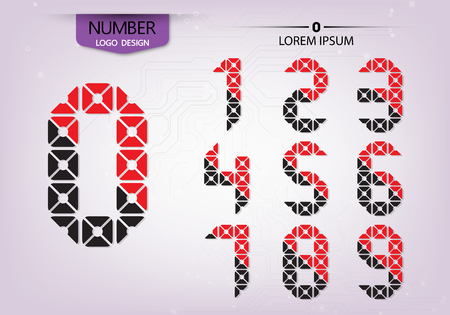Pattern ornamental colorful abstract numbers, vector illustration Çizim