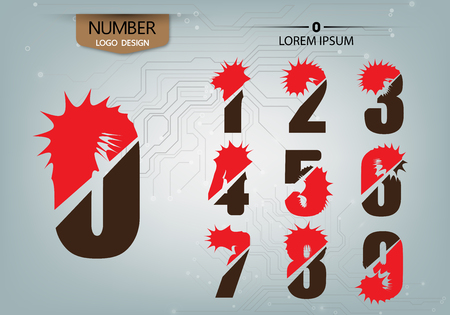 abstract numbers is logo variety on the abstract background vector illustration Çizim