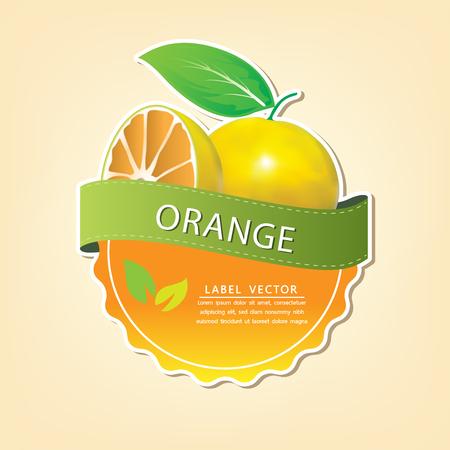 Orange fruit label, fruit native to Thailand, vector illustration.
