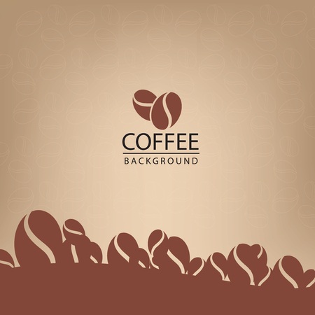 Coffee beans on brown background vector illustration